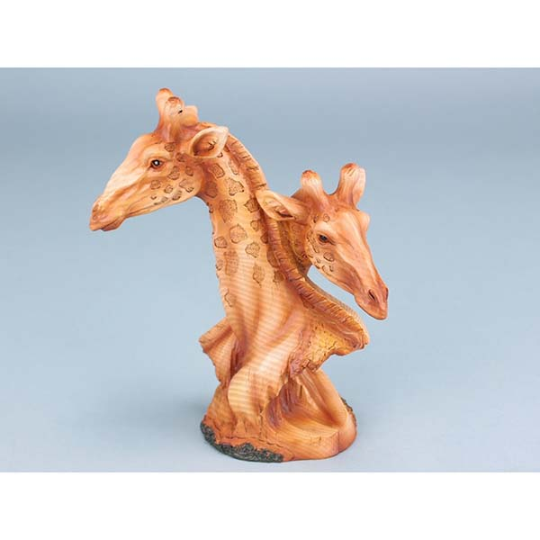 Wood Effect Giraffe Heads - 18cm