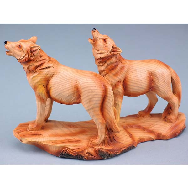 Wood Effect Wolf Pair - 18cm