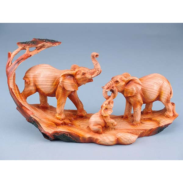 Wood Effect Elephant Family