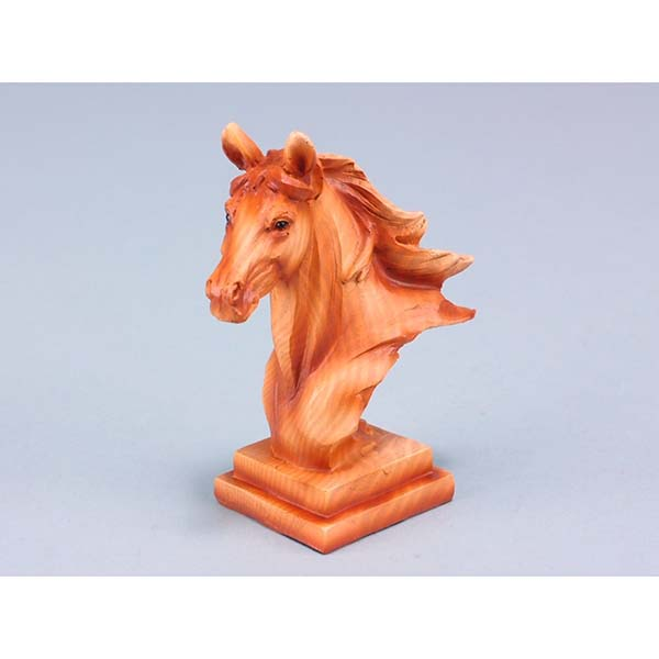 Wood Effect Horse Head on Plinth