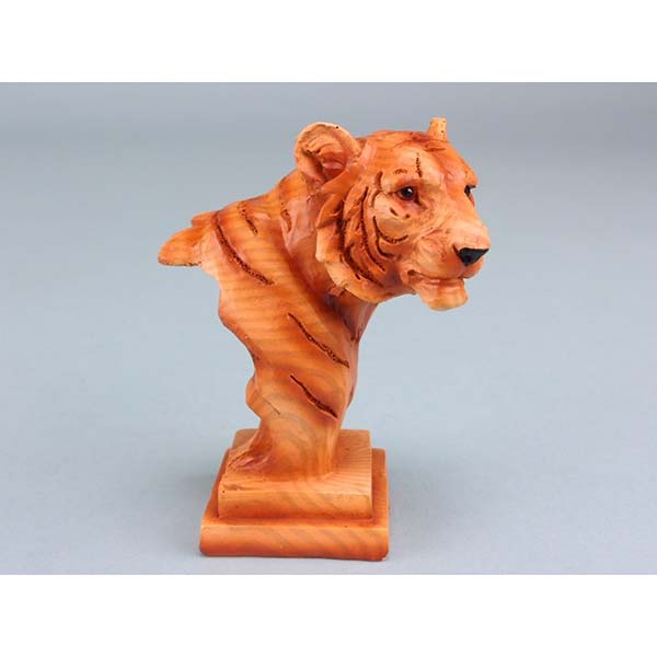 Wood Effect Tiger Head on Plinth