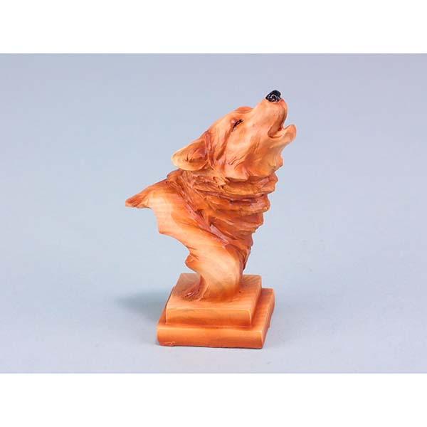 Wood Effect Wolf Head on Plinth
